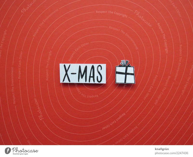 X-MAS Schriftzeichen Schilder & Markierungen Kommunizieren eckig rot schwarz weiß Gefühle Freude Fröhlichkeit Vorfreude Geborgenheit Zusammensein Neugier