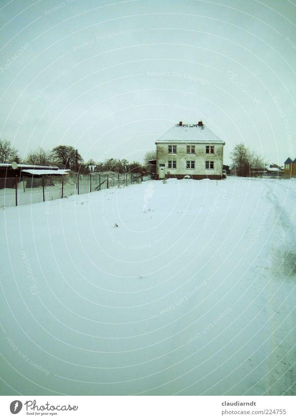 Heimatdorf Winter Schnee Menschenleer Haus Einfamilienhaus Gebäude Fassade alt dreckig blau weiß kalt Frost Zaun blaustich Grundstück Außenaufnahme
