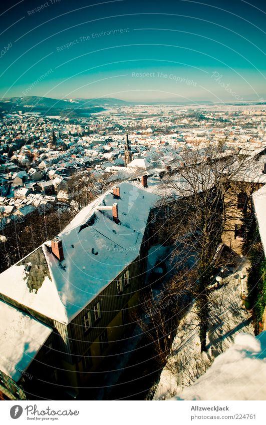 Wernigeroder Panorama 2 Harz Kleinstadt Altstadt Skyline Haus blau Winter Schnee Farbfoto Außenaufnahme Menschenleer Tag Vogelperspektive Weitwinkel