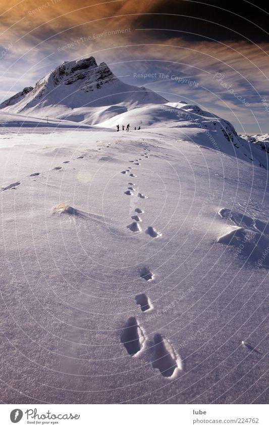 Hasenspur Ferien & Urlaub & Reisen Tourismus Winter Schnee Berge u. Gebirge Natur Landschaft Schönes Wetter Felsen Alpen Gipfel Schneebedeckte Gipfel Fährte