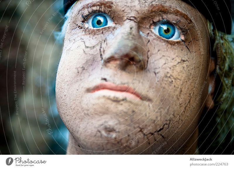 spröde Lippen? alt blau Kopf Haut groß maskulin kaputt Hautfalten trocken Puppe Riss bewegungslos Blick Porträt hypnotisch Holzfigur