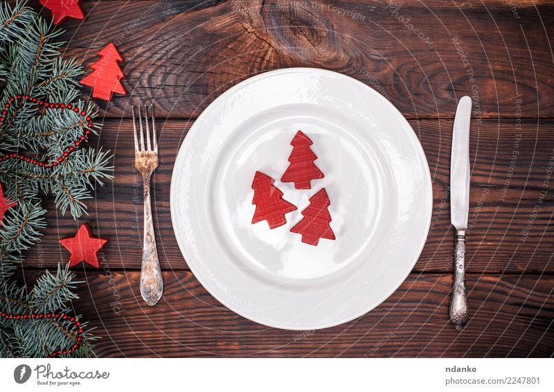 weiße Keramikplatte und Vintage Gabel und Messer Mittagessen Abendessen Teller Besteck Dekoration & Verzierung Tisch Küche Restaurant Feste & Feiern
