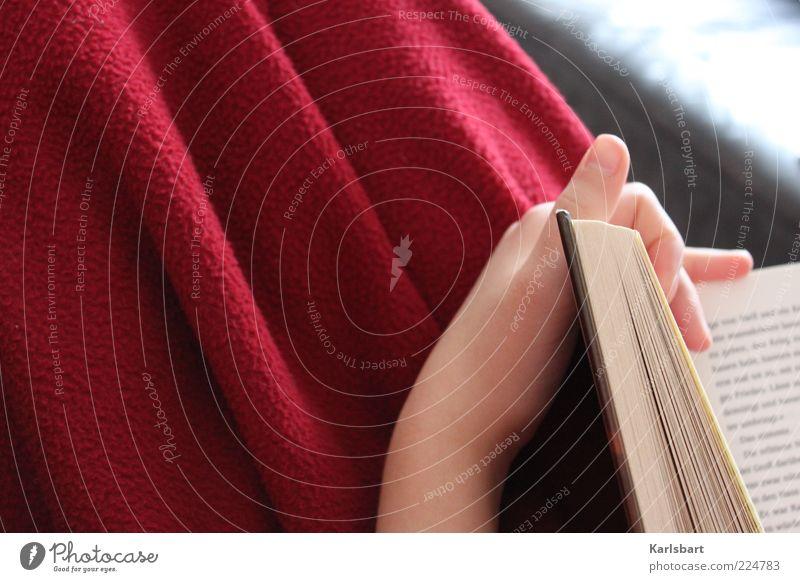 lektüre. Lifestyle Freizeit & Hobby lesen Bildung lernen Mensch Hand 1 Printmedien Buch Schriftzeichen rot Gefühle ruhig Wolldecke gemütlich Farbfoto