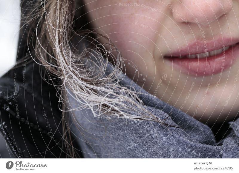 Frozen Breath. Frau Winter Gesicht kalt Haare & Frisuren Eis Nase ästhetisch Frost Lippen gefroren frieren Lächeln bleich Momentaufnahme anonym