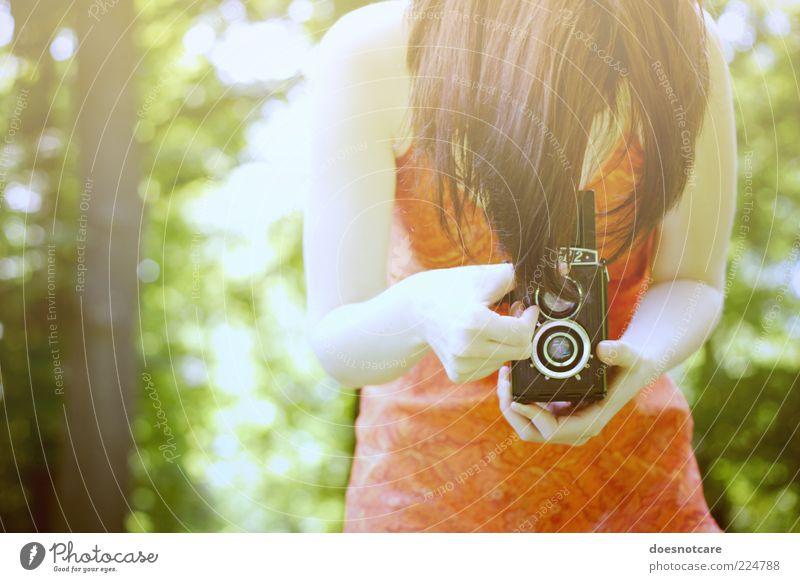 sommer, junge frau, blick in die kamera. Frau Mensch Natur Jugendliche schön Sommer feminin Erwachsene Freizeit & Hobby Fotografie Kleid Fotokamera analog