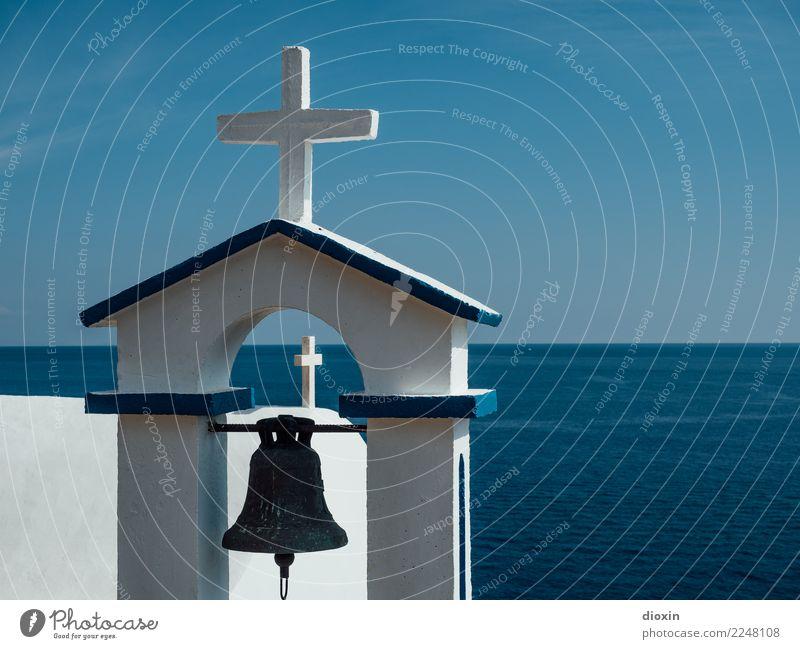 Postkarte aus Kreta Himmel Ferien & Urlaub & Reisen blau Sommer weiß Meer Ferne Wärme Religion & Glaube Gebäude Tourismus Kirche Insel Schönes Wetter Bauwerk