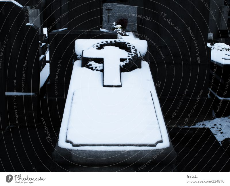 Kummer von Flandern Winter Schnee dunkel schwarz weiß ruhig Traurigkeit Trauer Tod Friedhof Christliches Kreuz Grab Grabstein Vergangenheit Kranz Farbfoto
