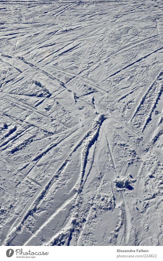 Kreuz und quer. Wintersport Skifahren Skipiste Schnee kalt Spuren Saison Farbfoto Außenaufnahme Menschenleer Textfreiraum oben Tag Schatten Kontrast