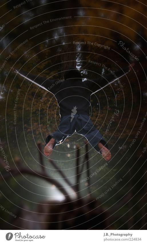 Jump! Mensch Mann Jugendliche Freude Erwachsene Leben Bewegung springen Freizeit & Hobby fliegen Bekleidung fallen Hose Mütze Junger Mann machen