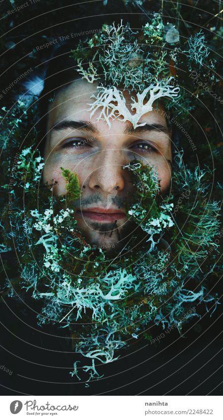 Künstlerisches Porträt einer Post bedeckt durch Moos exotisch Haut Gesicht Mensch maskulin Mann Erwachsene 1 30-45 Jahre Kunst Umwelt Natur Pflanze Frühling