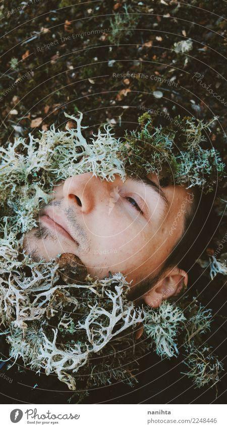 Mensch Natur Jugendliche Mann Pflanze grün Winter dunkel 18-30 Jahre schwarz Gesicht Erwachsene Umwelt Herbst Gesundheit Senior