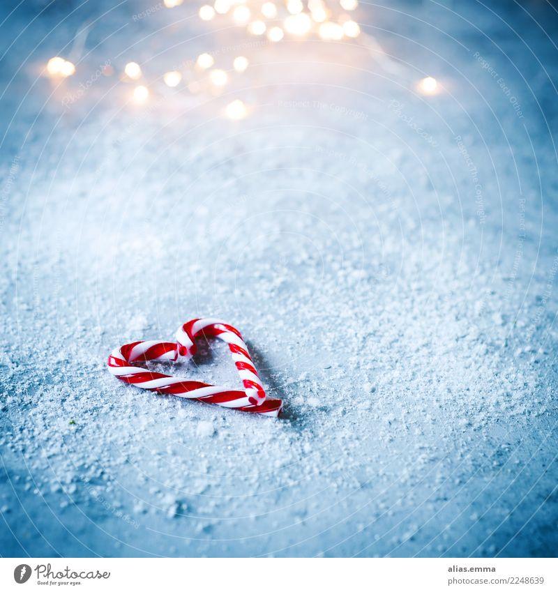 Candy Canes Süßwaren Zuckerstange Weihnachten & Advent Herz blau Unschärfe Winter Schnee Schneefall Weihnachtsgeschenk Postkarte Textfreiraum
