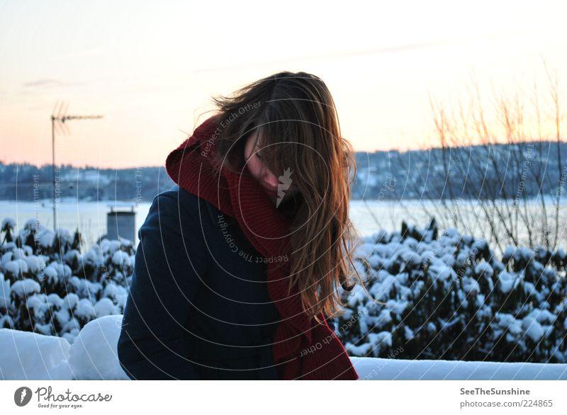 Träumen heißt die Wärme in der Kälte zu spüren. Frau ruhig Winter Ferne kalt Schnee feminin Haare & Frisuren träumen Stimmung Erwachsene Zufriedenheit Sträucher