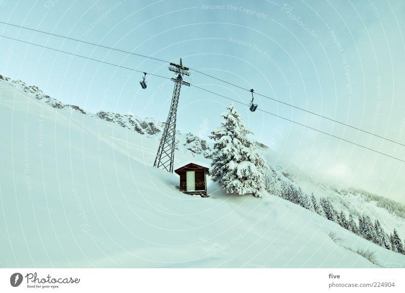 powderfahrt Skipiste Natur Winter Schönes Wetter Schnee Pflanze Baum Hügel Felsen Alpen Berge u. Gebirge frisch kalt Skilift Hütte Tür Farbfoto Außenaufnahme