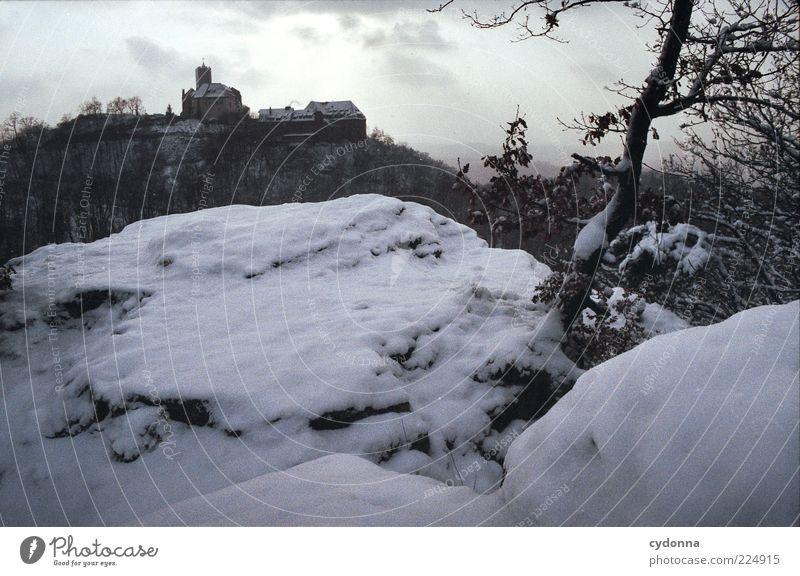 Wartburg Ausflug Ferne Sightseeing Winterurlaub Kultur Umwelt Natur Eis Frost Schnee Baum Wald Berge u. Gebirge Einsamkeit geheimnisvoll ruhig stagnierend