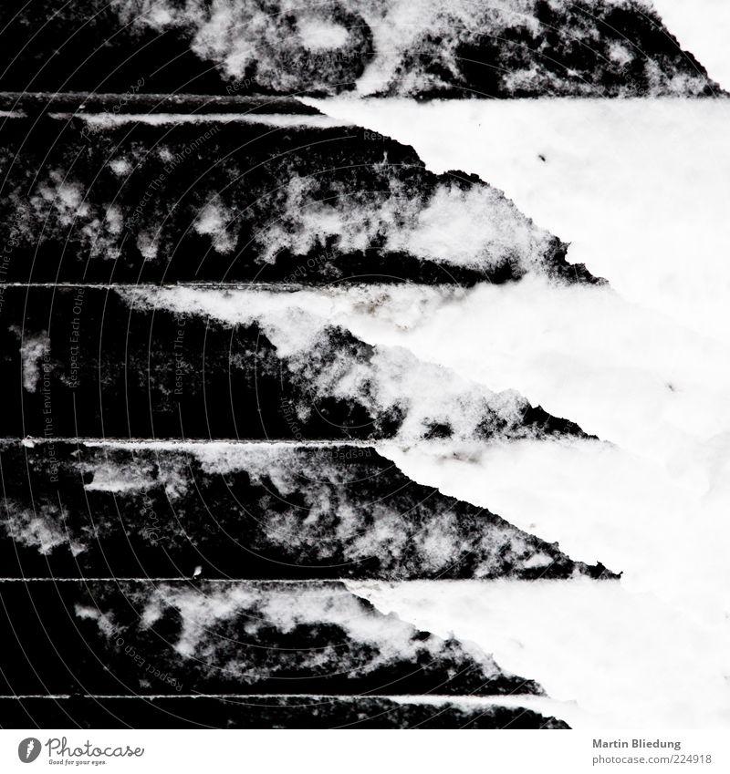 Fusion weiß schwarz Eis außergewöhnlich Treppe dreckig Design Beton Frost gefroren Pfeil trashig Glätte abstrakt Verlauf Schwarzweißfoto