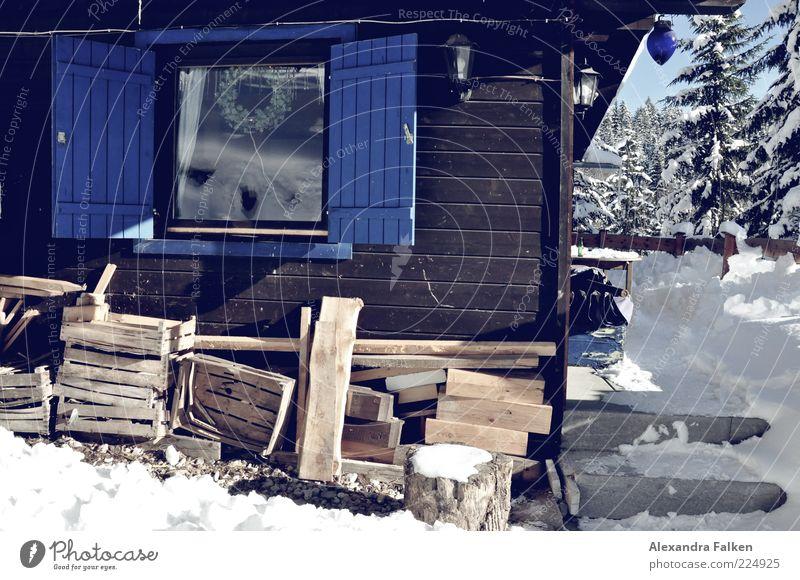 Holz vor der Hütt'n. Natur Haus Schnee Fenster Eis Frost authentisch Tanne Hütte Tradition alternativ heizen Fensterladen Einfamilienhaus Vorrat