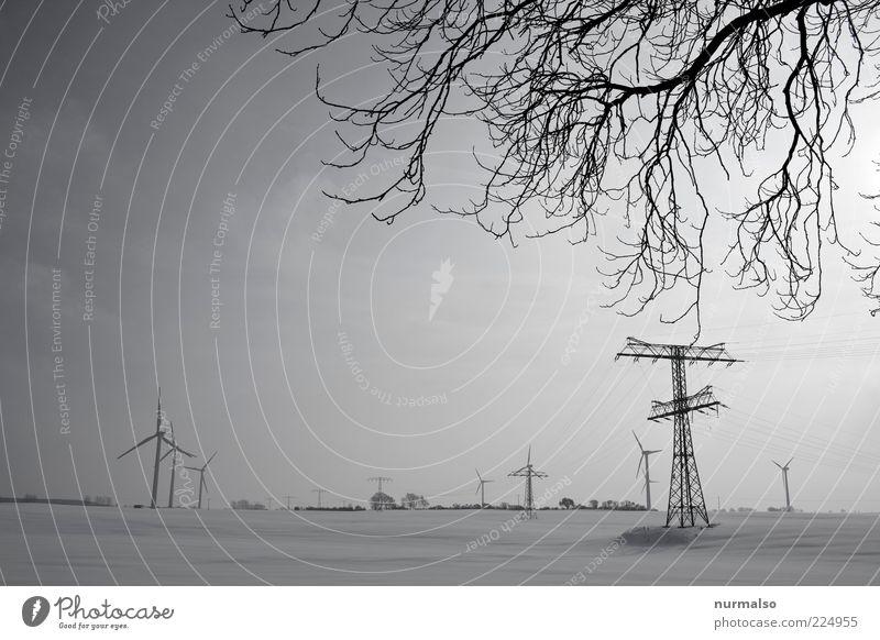 ökostrom im Winter Natur Winter Ferne kalt Schnee Umwelt Landschaft Feld natürlich Energiewirtschaft Klima Elektrizität Lifestyle Zukunft Netzwerk Technik & Technologie
