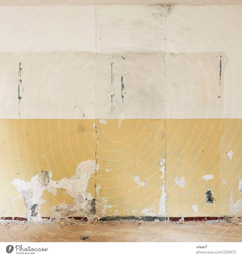Streifen. alt schön Einsamkeit gelb Wand Stein Linie Raum Wohnung elegant Beton Design ästhetisch Innenarchitektur kaputt Boden