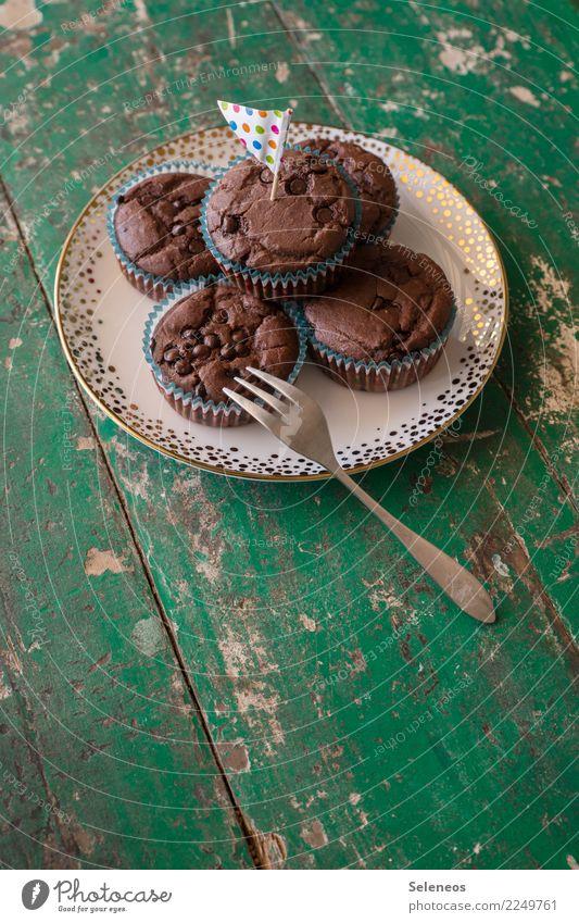 Küchlein Lebensmittel Teigwaren Backwaren Kuchen Süßwaren Muffin Ernährung Kaffeetrinken Picknick Gabel genießen frisch lecker süß Farbfoto Innenaufnahme