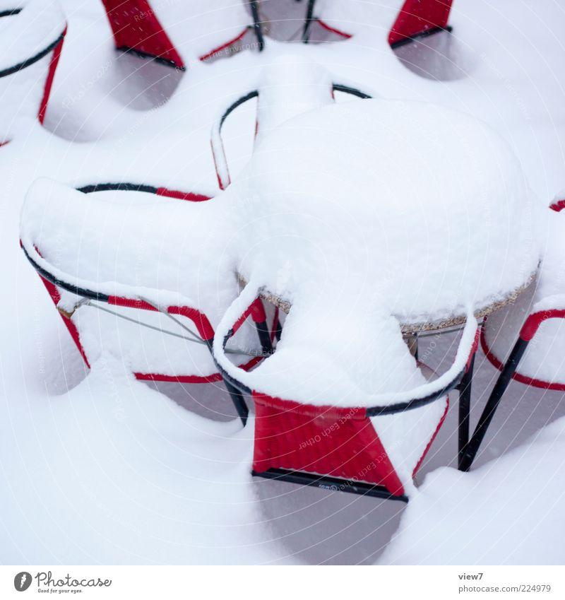 25. Dezember 2010 Stuhl Tisch Umwelt Klima Eis Frost Schnee Zeichen authentisch einfach modern oben positiv rot Stimmung Gastronomie Terrasse Neuschnee Rekord
