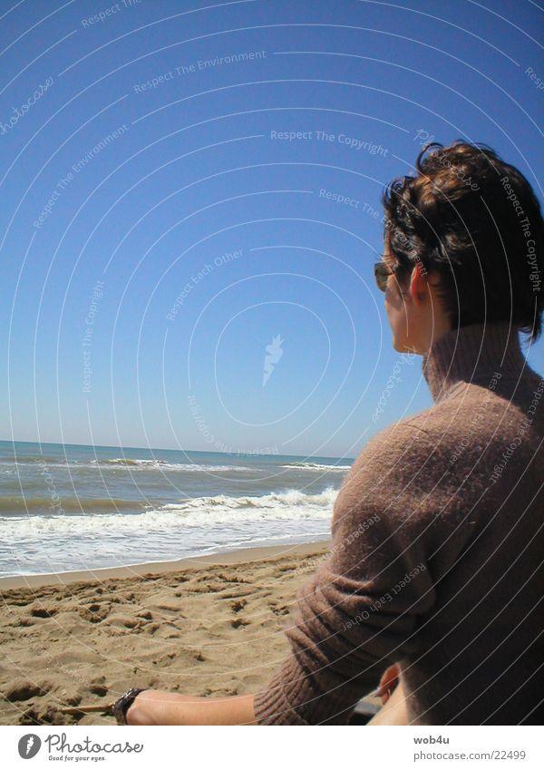 Meditieren Frau Meer Strand Meditation Gedanke