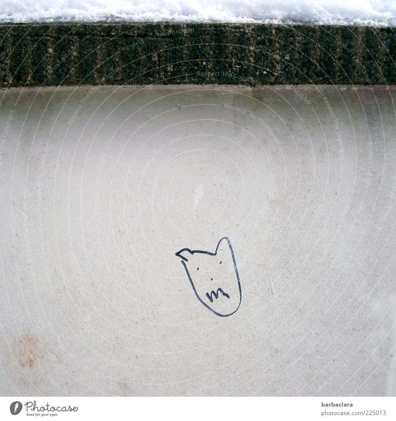 Den Winter vertreiben androgyn Schnee Mauer Wand Beton Zeichen Coolness frech gruselig klein lustig niedlich Angst Ende Kunst skurril Freude Außenaufnahme Tag