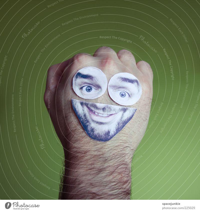 Tattoo Hand Gesicht Auge Leben lachen Mund lustig Behaarung Fröhlichkeit Bart Lebensfreude skurril grinsen Idee Freude