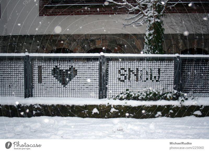 Danke, Frau Holle! Danke Väterchen Frost! weiß Winter Wand Schnee Mauer Schneefall Wetter Herz Klima Schriftzeichen Lifestyle Zeichen Zaun Vorfreude Bildpunkt Reflexion & Spiegelung