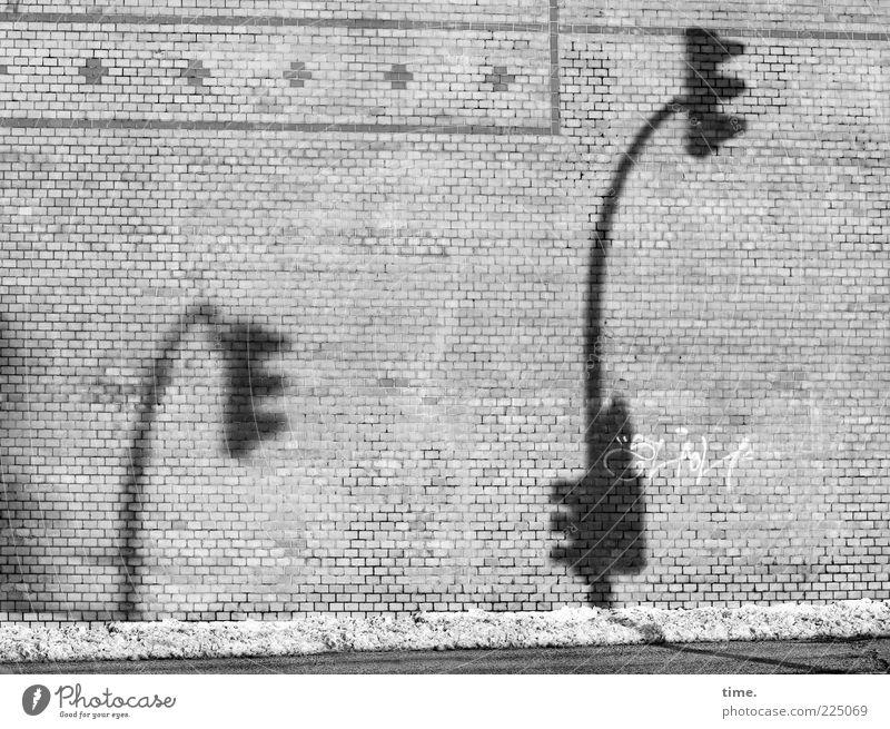 Wahlkrampfrhetorik Straße Wand Schnee grau Stein Mauer klein lustig groß Backstein Ampel Ornament Hochmut Schattenspiel gebeugt