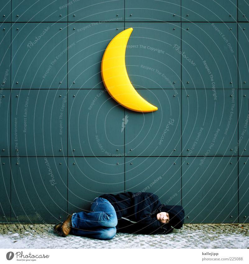 la-le-lu Mensch ruhig Winter Erholung Leben kalt träumen Erwachsene schlafen liegen Weltall Mond Wohlgefühl Obdachlose Ganzkörperaufnahme mehrfarbig