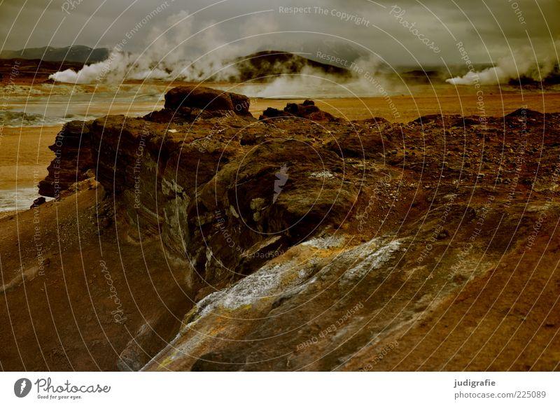 Island Himmel Natur dunkel Landschaft Umwelt Stimmung Erde wild natürlich bedrohlich Urelemente außergewöhnlich heiß fantastisch Wasserdampf