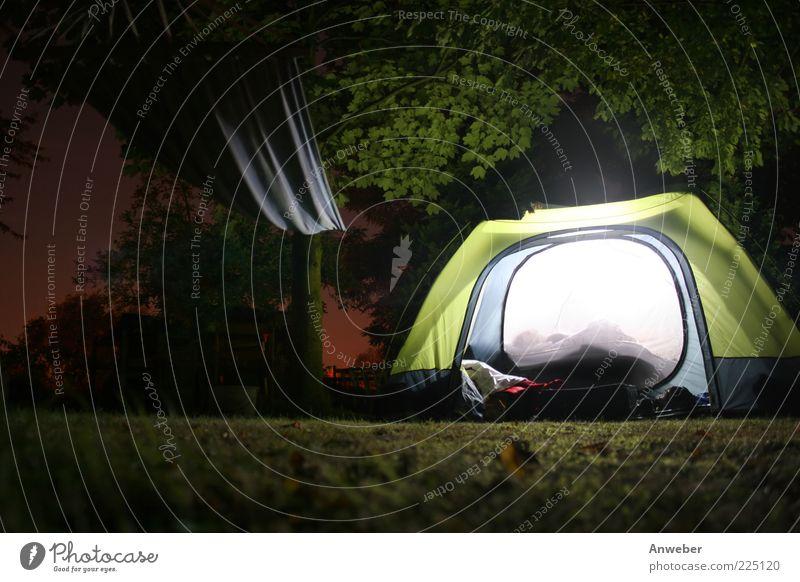 Draußen dunkel, drinnen hell Mensch Natur grün Baum Sommer Ferien & Urlaub & Reisen ruhig Freiheit Umwelt Stimmung Beleuchtung Ausflug Freizeit & Hobby Abenteuer schlafen Tourismus