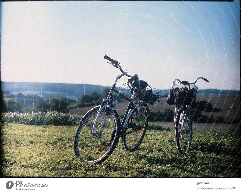 I want to ride my bicycle Wolkenloser Himmel Schönes Wetter Gras Fahrrad stehen trendy einzigartig nachhaltig natürlich Dia analog ruhig Pause warten stoppen
