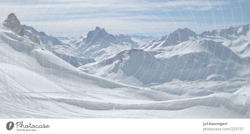 Winterberge Natur Landschaft Schönes Wetter Schnee Alpen Berge u. Gebirge Gipfel Schneebedeckte Gipfel Gletscher blau weiß Stimmung kalt Ferne Farbfoto