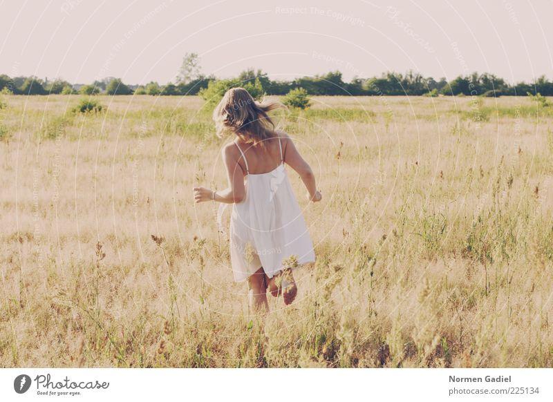 Sommer Frau Mensch Natur Jugendliche Wiese feminin Landschaft Gras Erwachsene blond laufen rennen Sträucher Kleid Lebensfreude