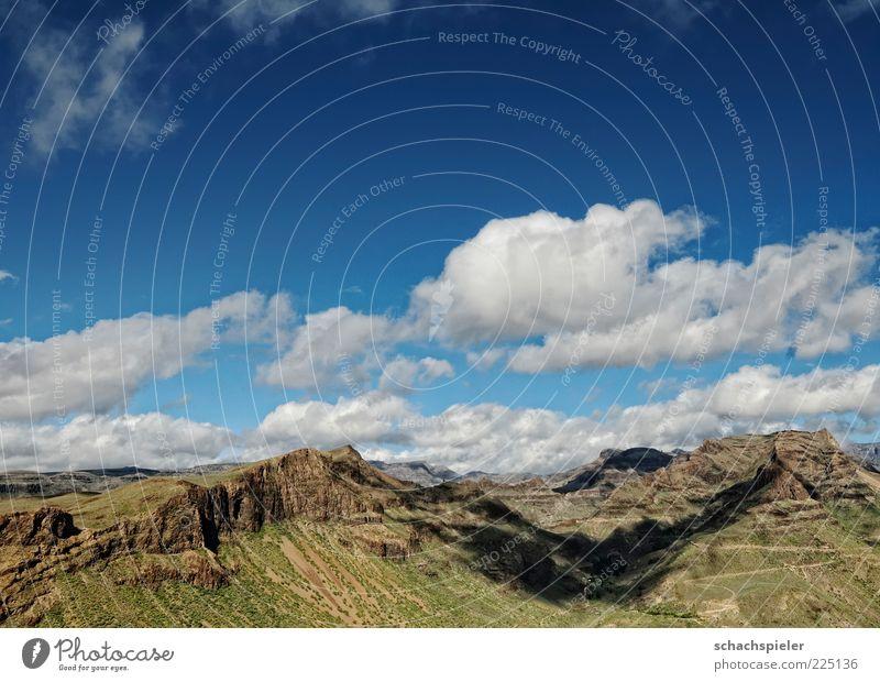 Wolkenschatten Ferien & Urlaub & Reisen Tourismus Sommer Berge u. Gebirge Umwelt Natur Landschaft Himmel Schönes Wetter Gran Canaria Ferne Farbfoto