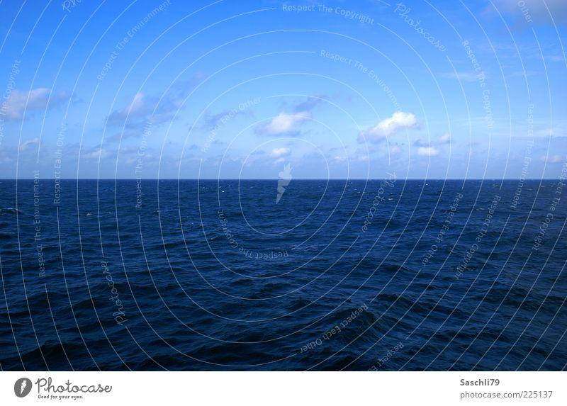 Die Nordsee Umwelt Natur Wasser Horizont Sommer Klima Schönes Wetter Wellen Meer blau Farbfoto Außenaufnahme Menschenleer Tag Sonnenlicht Totale Meerwasser
