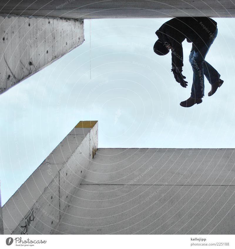 hangover Mensch Mann Erholung Architektur Erwachsene liegen Jeanshose Mütze Stiefel hängen Mantel Handschuhe verkatert verdreht faulenzen Silhouette