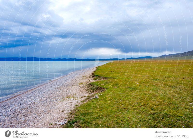 Song Kul See, Kirgisistan schön Ferien & Urlaub & Reisen Tourismus Sommer Berge u. Gebirge Natur Landschaft Himmel Wolken Gras Park Wiese Hügel Felsen natürlich