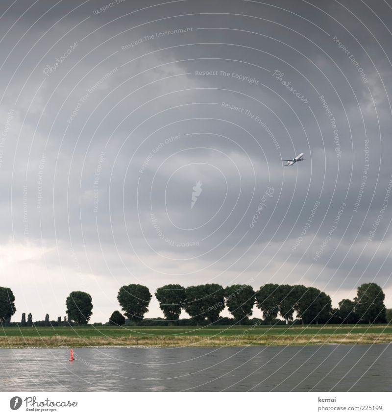 Abflug Himmel Natur Wasser Baum Pflanze Sommer Wolken Landschaft Umwelt Küste Park Flugzeug fliegen Luftverkehr bedrohlich Urelemente