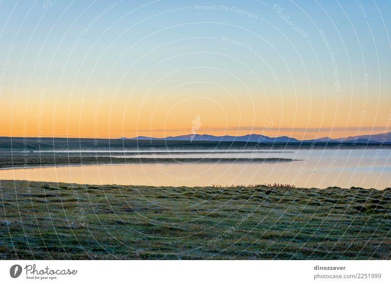 Song Kul See im Sonnenaufgang, Kirgisistan schön Ferien & Urlaub & Reisen Sommer Schnee Berge u. Gebirge Natur Landschaft Himmel Wolken Nebel Gras Park Wiese