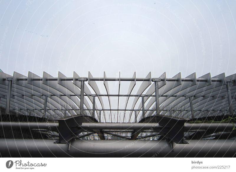 Stahlkonstrukt Fortschritt Zukunft High-Tech Bauwerk Architektur elegant Sauberkeit ästhetisch Symmetrie Stahlkonstruktion Dach Himmel Linie Kurve parallel