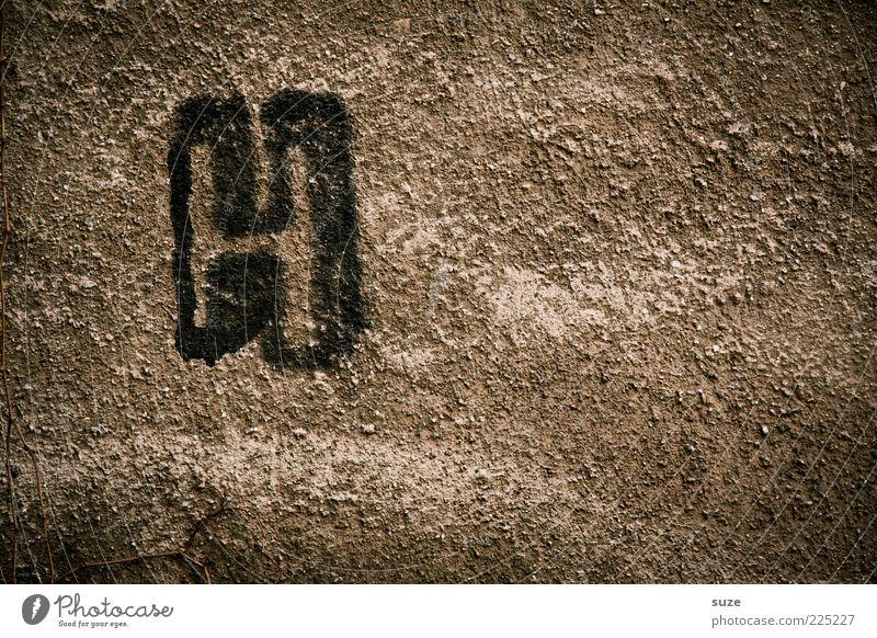 H wie Hanswurst Mauer Wand Schriftzeichen Graffiti alt retro braun Buchstaben Steinwand Putz Schmiererei Typographie Handschrift freihändig Putzfassade dreckig