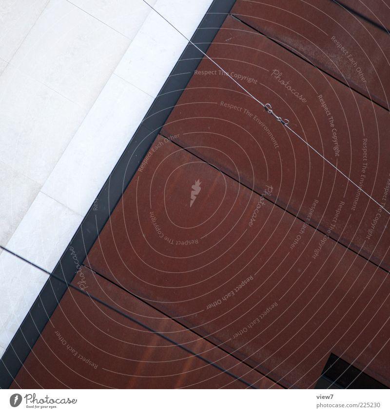Archigraphic Haus Bauwerk Architektur Mauer Wand Fassade Stein Beton Metall Rost Linie Streifen authentisch dunkel eckig einfach modern rebellisch braun