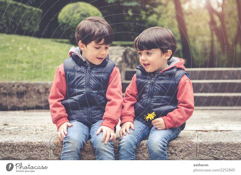 glückliche Brüder im Park sitzen Kind Mensch Blume Freude Lifestyle Liebe Gefühle Familie & Verwandtschaft Junge Glück Garten Zusammensein Freundschaft maskulin