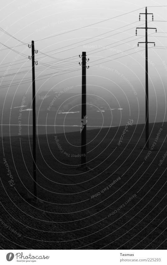 Fake Island Haus dunkel Nebel Energiewirtschaft Elektrizität Bauernhof Strommast Telefonmast Nebelschleier Nebelstimmung
