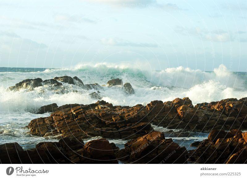 Naturgewalten Umwelt Landschaft Urelemente Erde Wasser Himmel Wolken Wellen Küste Meer hell nass natürlich wild Wellengang Gischt Kraft gewaltig Stein Felsen