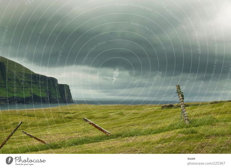 nicht meer weit Himmel Natur blau grün Meer Landschaft Wolken Umwelt Berge u. Gebirge Wiese Gras Küste Holz Stimmung Wetter Klima