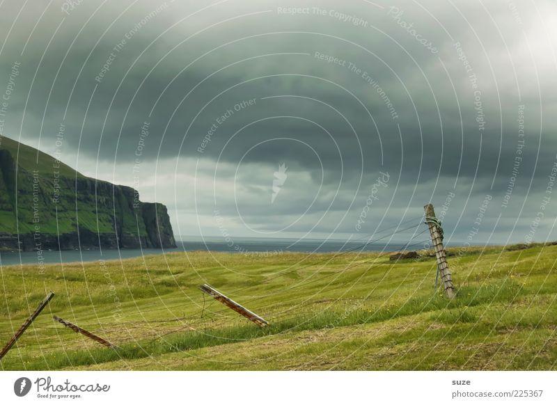 nicht meer weit Insel Berge u. Gebirge Umwelt Natur Landschaft Himmel Wolken Gewitterwolken Klima Wetter schlechtes Wetter Gras Wiese Küste Bucht Fjord Meer